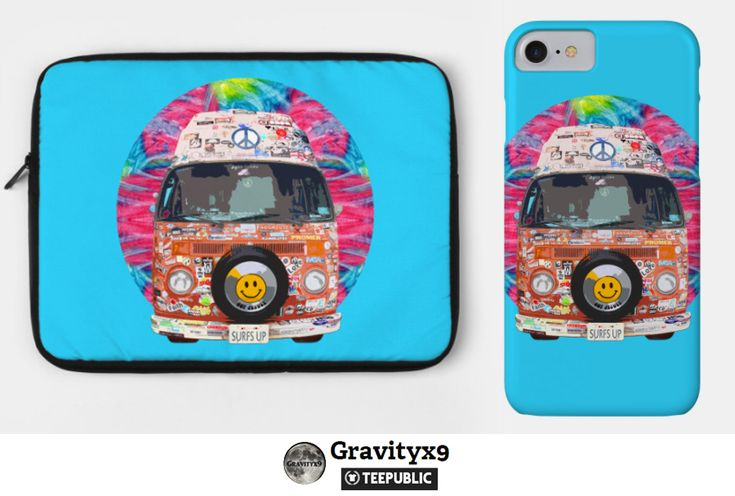Groovy Hippie Van - Hippie Van Electronic Care by #Gravityx9 at TeePublic - Also available on Shirts, stickers & more.  Groovy van with lots of stickers on it from its travels across the country,looking for the perfect wave. Placed on a colorful tie-dye patterned background.    #phonecase #electroniccare #laptopsleeve #laptopcase #hippie #groovy #pink #blue