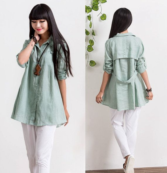 Loose Fitting Linen Long Shirt Blouse for Women - 70%Sleeved Women Clothing