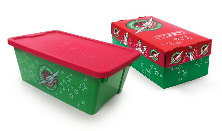 Order Preprinted Shoeboxes                                                                                    Our preprinted Operation Christmas Child shoeboxes—now available in both plastic and cardboard—are a fun and convenient way to pack gifts for a child in need.
