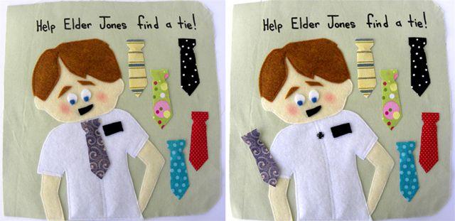 """Help Elder Jones find a tie""  quiet book page"