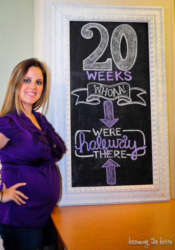 20 weeks pregnancy chalkboard tracker