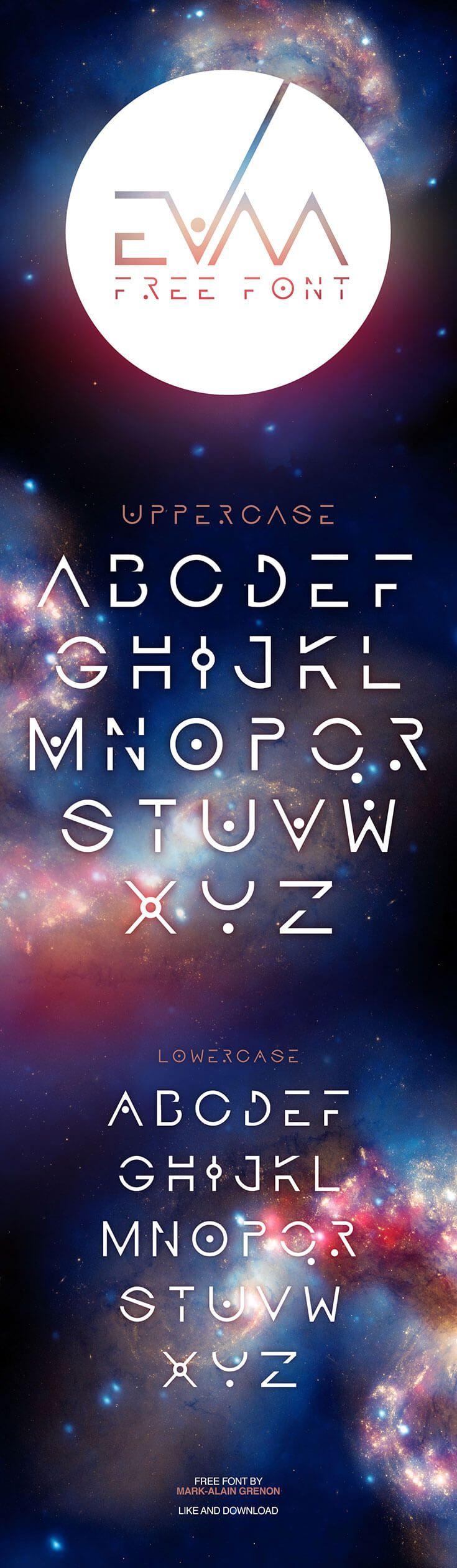 Free Evaa Galactic Display Font Fonts, Elegant logo