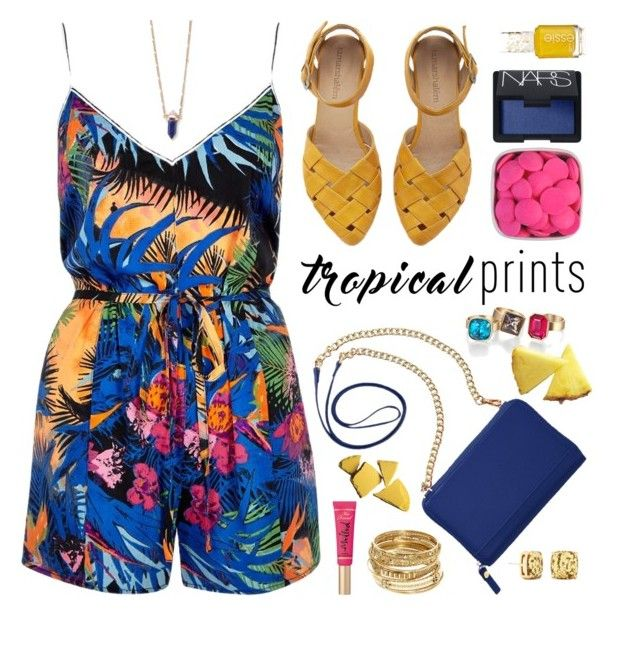 """""""Tropical Prints"""" by chezamanda ❤ liked on Polyvore featuring River Island, TravelSmith, Too Faced Cosmetics, Kate Spade, ABS by Allen Schwartz and NARS Cosmetics"""