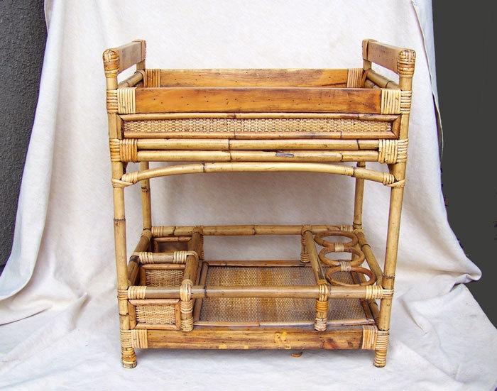 Tiki rattan bar cart trolley bamboo Polynesian Art Deco to mid century. $295.00, via Etsy.
