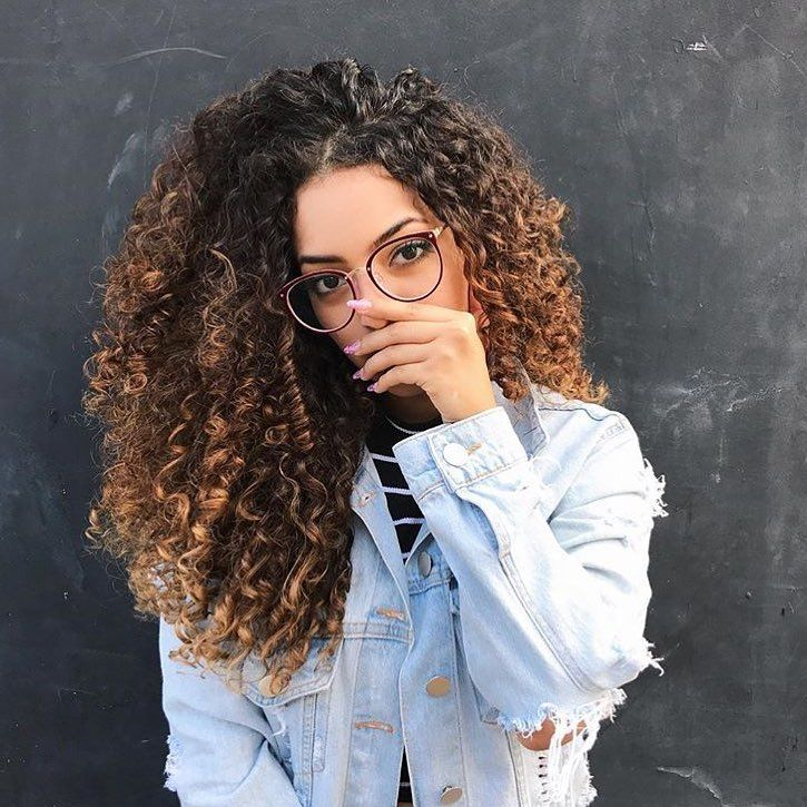 natural curls | big hair | natural hair | distressed jean jackets | glasses | highlights | brunette