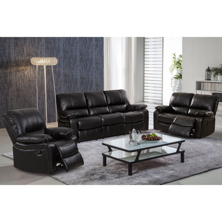 Samantha Leather Gel 3-Piece Reclining Sofa Set with Swivel Rocker Recliner Chair