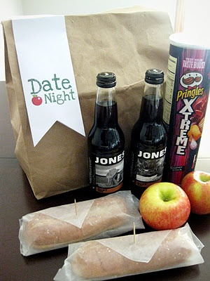 Brown Bag Date Night...seems like a great spur of the moment date night idea, and Brina would love not waiting an hour for dinner to be made lol