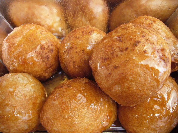 Loukoumades... basically a greek cream puff with honey, powdered sugar, or chocolate poured over them... bombbb!