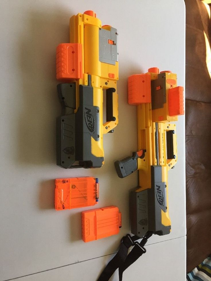 NERF N-Strike Deploy CS-6 Yellow Dart Rifle Blaster with 2 Clips Fully Loaded! #Hasbro