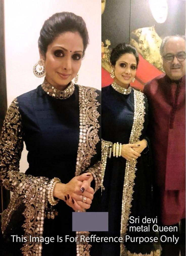 Resplendent Sridevi Black Designer Anarkali salwar suit