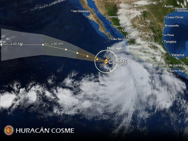 Clima en el Pacífico: el huracán Cosme seguirá hacia el Oeste