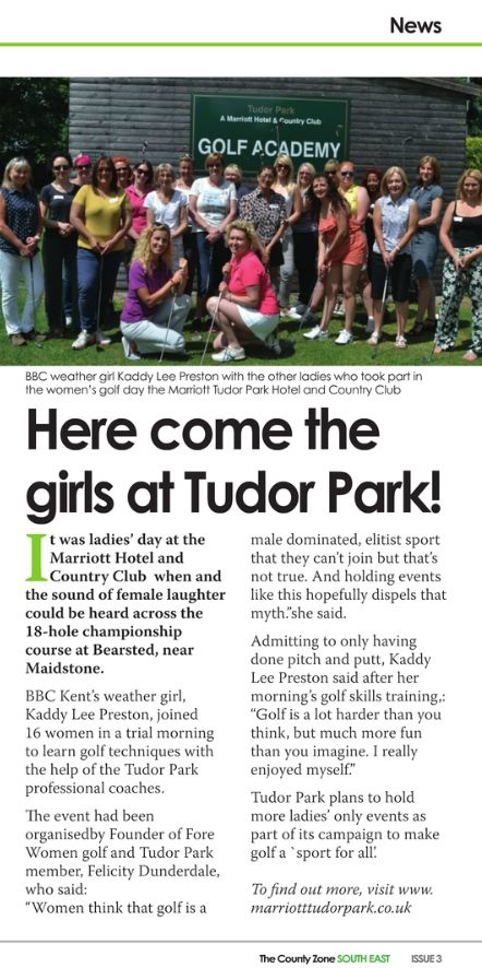 GolfHer morning on 11th June at Marriott Tudor Park with @KaddyLP and partners @tudorpark @GGDUK @medwaygolf (Source: The County Zone, Issue 3)