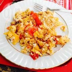 Photo recette : Œufs brouillés tomates-feta