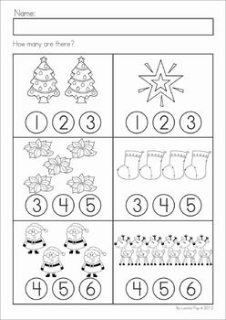 Christmas Math & Literacy Worksheets & Activities for Kindergarten. Lots of fun, interactive, no-prep pages for December. A page from the unit: count and dab how many