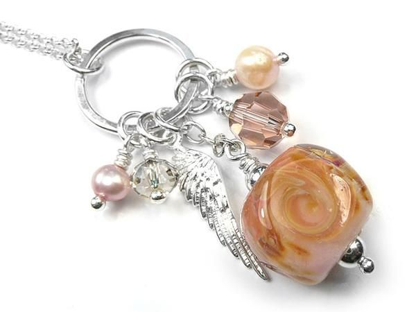 Lampwork Glass Pendant - Peach Tea