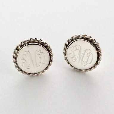 Sterling Silver Nautical Rope Stud #Monogram Earrings   Small Sterling silver stud earrings will be #monogrammed #engraved permanently. Top quality 925 sterling silver. Comes ... #prep #personalized #accessories #bridesmaid #gift #jewerly #present #wedding ➡️ http://jto.li/Kc5gw