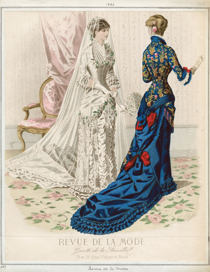 I love that blue dress. It is very rare to see such strong colors in a fashion plate.  1880, Revue de la Mode