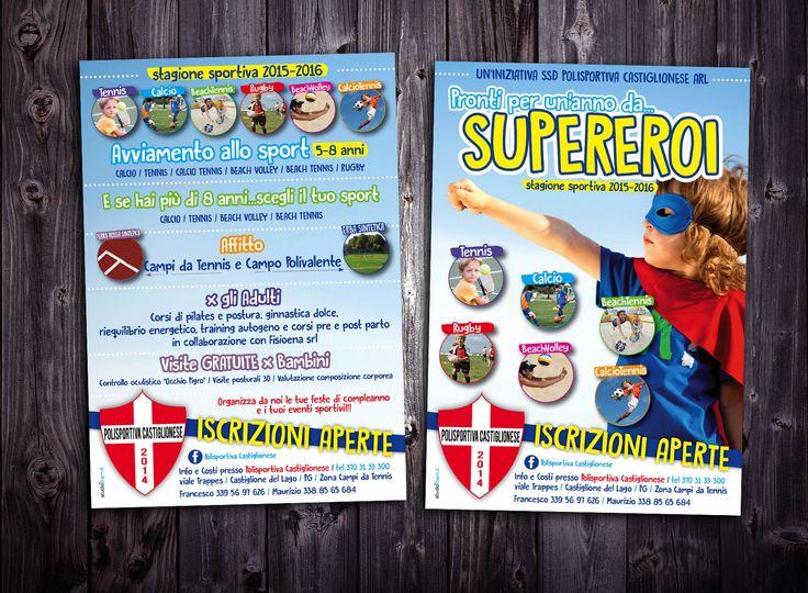 #grafica e #stampa Volantino A5 fronte/retro per Polisportiva Castiglionese #flyer #kids #supereroi #tennis #calcio #beachtennis #beachvolley #calciotennis #rugby #studioclem