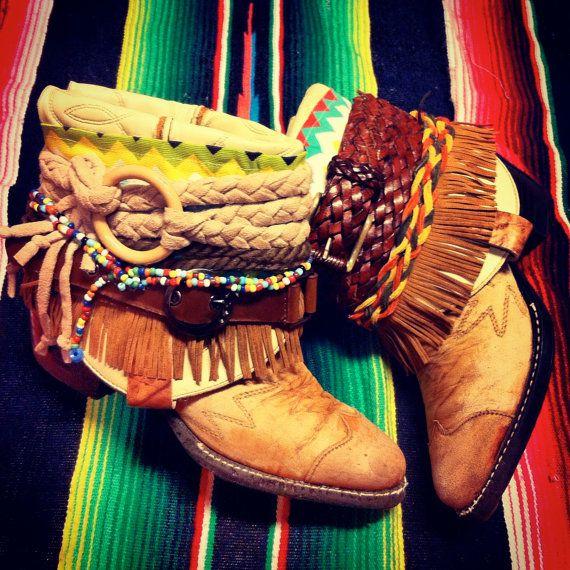 "Wilde Boots Born Wilde Gypsy Cowgirl by WildeFlowerDesign, $165.00 - Looks like a ""Hair"" costume - LOVE!"