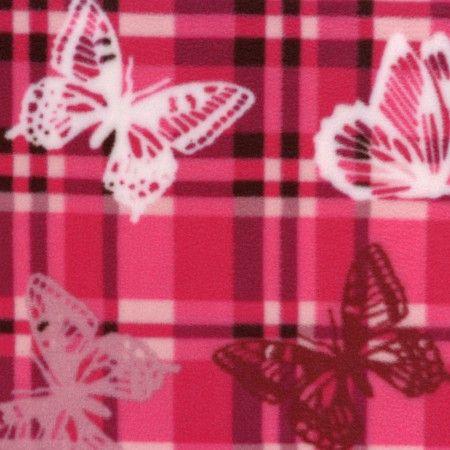 Mountain Fleece Prints -  Butterfly Plaid - Pink