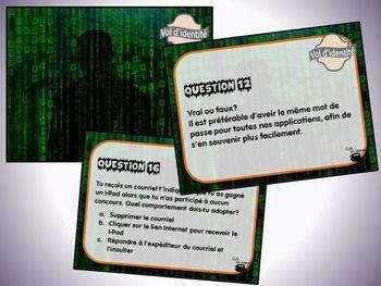 Ce document contient : - 28 questions à court développement concernant le vol d'identité ; - Une fiche de suivi ; - Un corrigé.  Vous pouvez utiliser ces cartes de différentes manières : - Cartes à tâches (travail autonome) ; - Questions « éclair » ; - Démarrer une discussion éthique relative aux différents enjeux du vol d'identité (définition, causes, conséquences, solutions, acteurs, etc.)  Lien avec la progression des apprentissages : Des exigences de la vie en société.