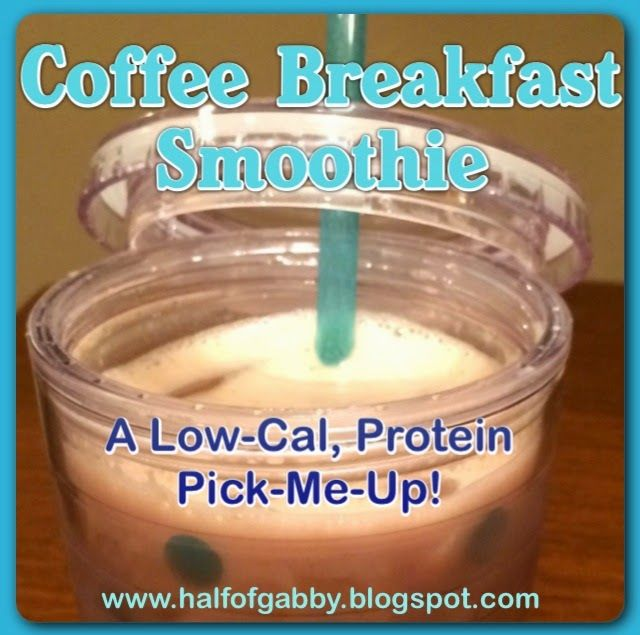 The perfect solution for a busy morning! Drink your coffee AND eat your breakfast in one fell swoop! For barely any calories at all, you're getting a protein packed pick-me-up breakfast with an added potassium punch! Follow Half of Gabby on Facebook for daily weight loss tips, recipes, workouts, and much more!