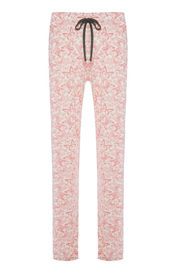 Pyjamabroek met koraalrode vlinders