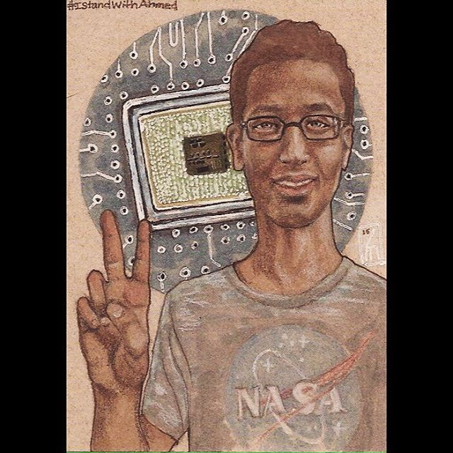 "I Stand With Ahmed. <3  #IStandWithAhmed  2.5""x3.5"" art card. Copics; ink; colored pencil. 2015"