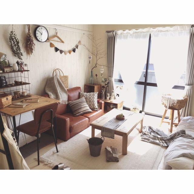 minami_09さんの、ドウダンツツジ,ブランケット,ドライフラワー,雑貨,暮らし,ボタニカル,暮らしを楽しむ,一人暮らし,ナチュラル,インダストリアル,無印良品,ニトリ,ヴィンテージ,ガーランド,古いもの,古道具,ソファ,クッション,ラグ,ローテーブル,DIY,Overview,のお部屋写真