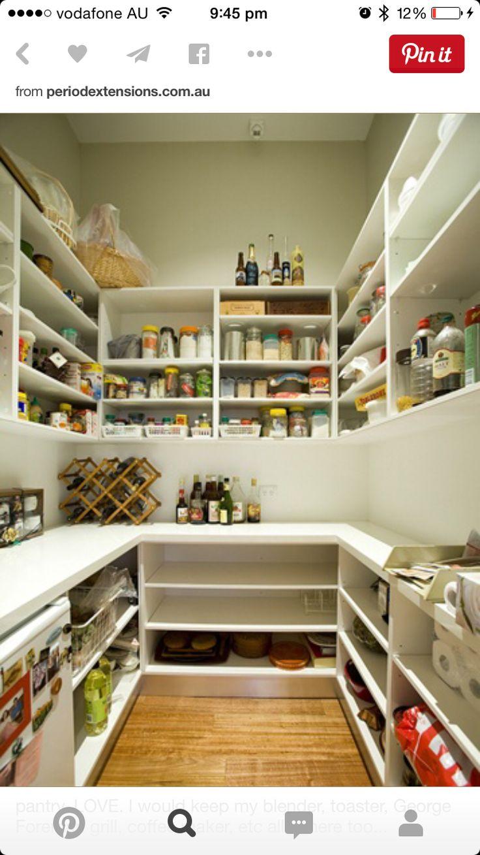 I like the idea of a counter along at least one wall to store big appliances like crockpots, etc