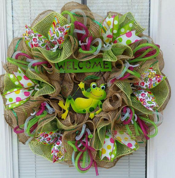 Spring Wreath Summer Wreath Welcome Wreath Frog by WreathsByRobyn