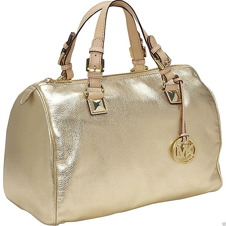 Michael Kors Large Grayson Gold Metallic Leather Satchel Purse Bag Handbag *** Read more  at the image link. (This is an Amazon Affiliate link and I receive a commission for the sales)