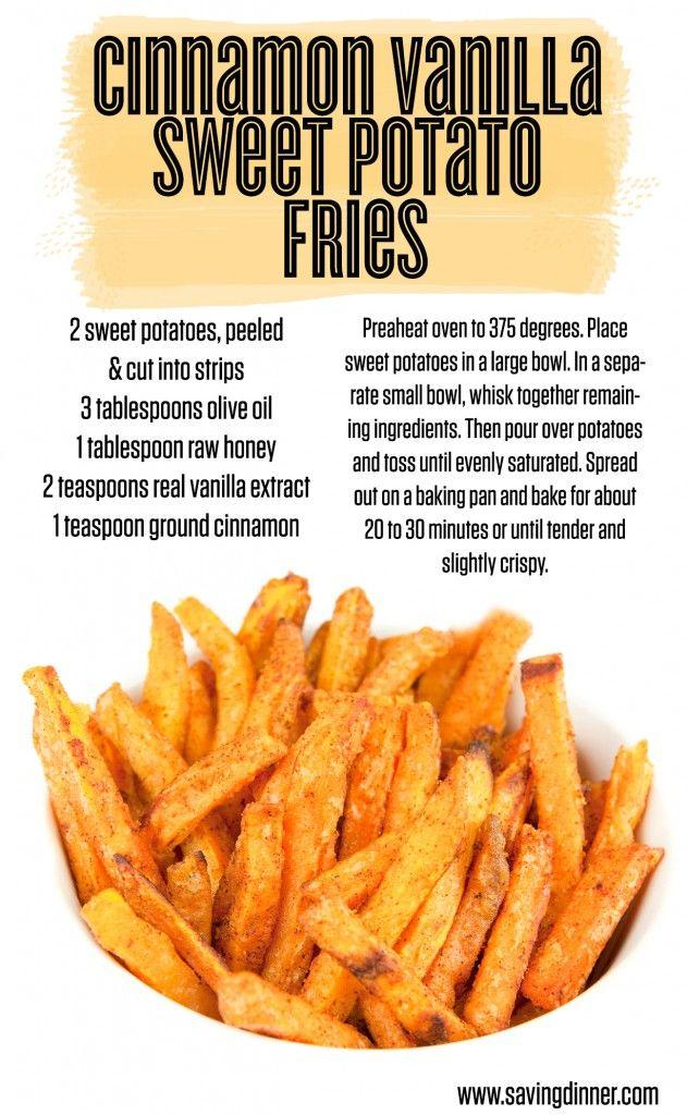 Cinnamon Vanilla Sweet Potato Fries recipe from Saving Dinner