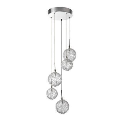 Chunky 6 light swirl flass flush ceiling light silver