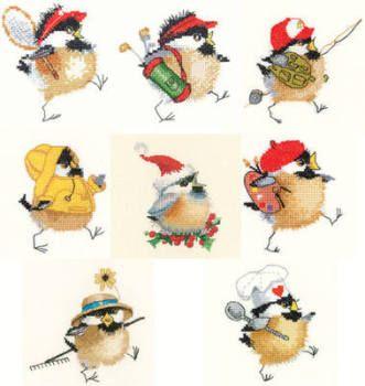 Set of 8 Chickadees - Valerie Pfeiffer Cross Stitch