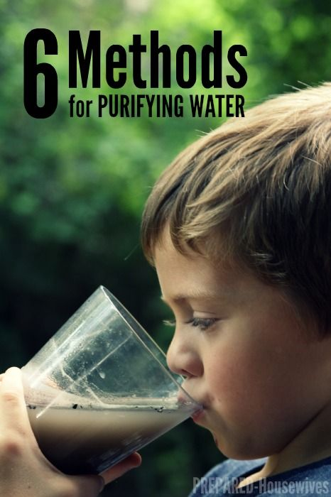 6 Methods for Purifying Water:  1. Boiling 2. Bleach 3. Granular Calcium Hypochlorite 4. Chlorine Tablets 5. Iodine 6. Water Purification Systems