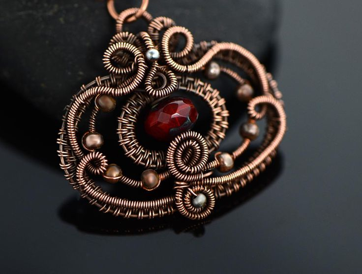 Pomegranate pendant necklace wire wrapped necklace by OrioleStudio
