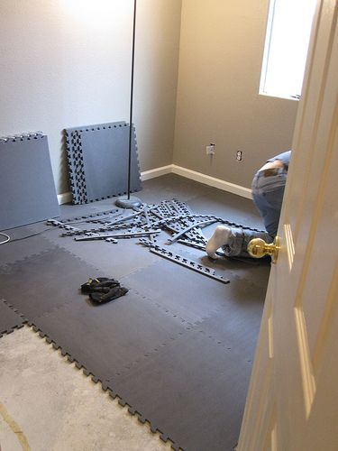 Did we REALLY need instructions on how to put these mats together?!? Lol... How to install gym-type flooring in your home. for a possible gym/workout room
