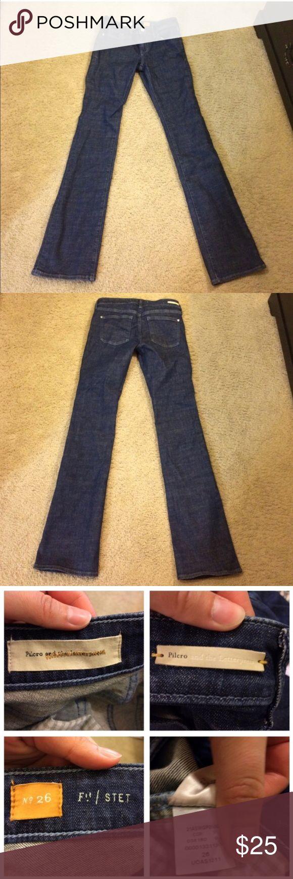 "Anthropologie Pilcro dark denim Jeans 👖 26 Anthropologie Pilcro and the letterpress brand. Good quality dark wash jeans in great condition. 33"" inseam. Anthropologie Jeans"