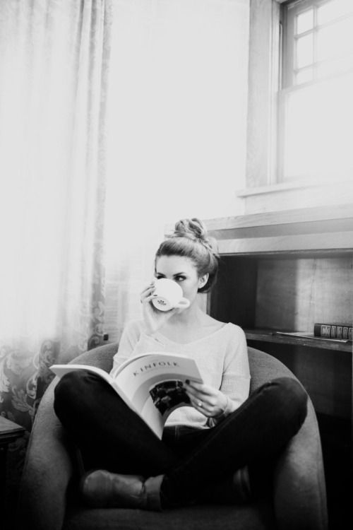 curling up with a book and a cup of tea