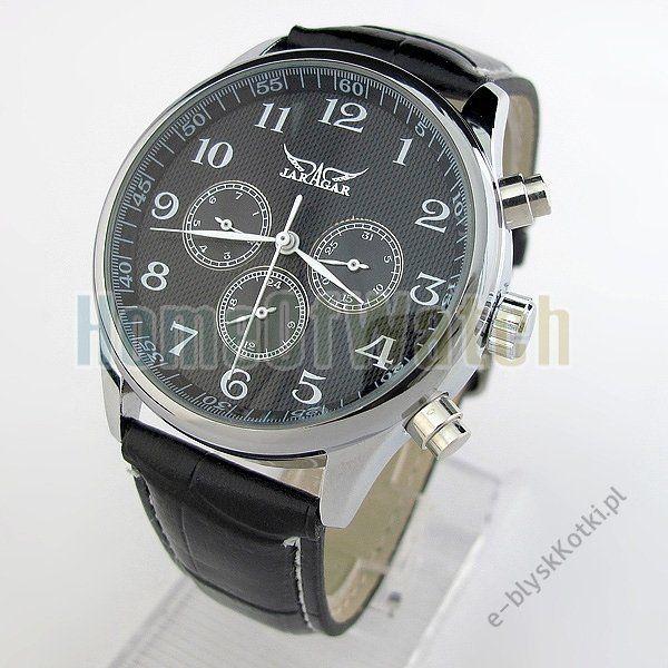 Zegarek JARAGAR czarny mechanicznie nakręcany