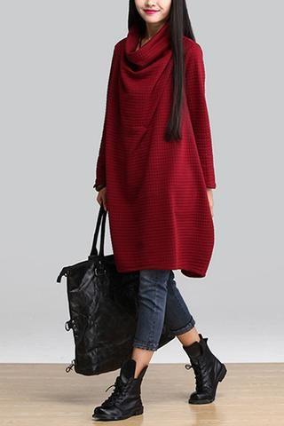Red Art Warm Casual Loose Dress Women Tops Q2884A
