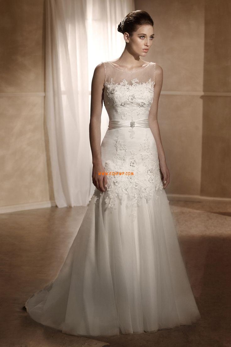 Kyrka Ärmlös Applikation Lyx Bröllopsklänningar