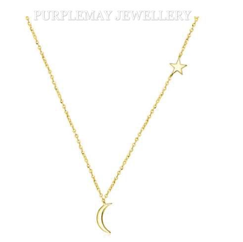 Moon and Star Pendant 18K Yellow Gold  Chain Length: 40cm