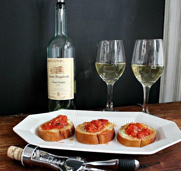 Description: date night - Tomato Mozzarella Appetizer with Santa Margherita Pinot Grigio