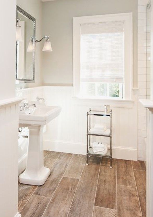 Wood Look Tile Farmhouse Master Bathroom Bathrooms Remodel Bathroom Remodel Master