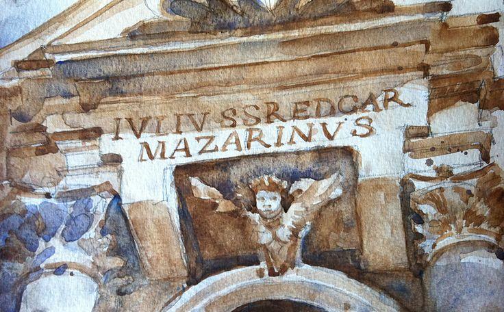 Detail building - next to the Fontana di Trevi - Rome Italy.