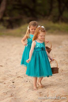 turquoise flower girl dresses, blue turquoise wedding dresses, maui wedding by Simple Maui Wedding