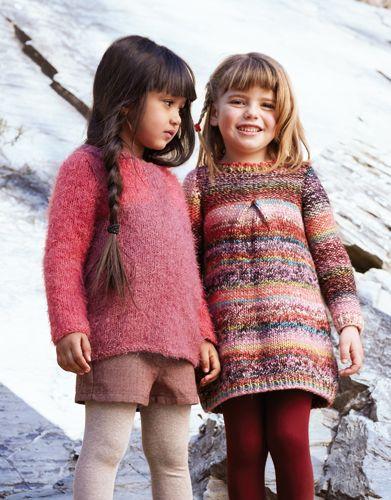 Tijdschrift Kinderen 75 Herfst / Winter   16: Kinderen Trui   Donker bleekrood / Koraal