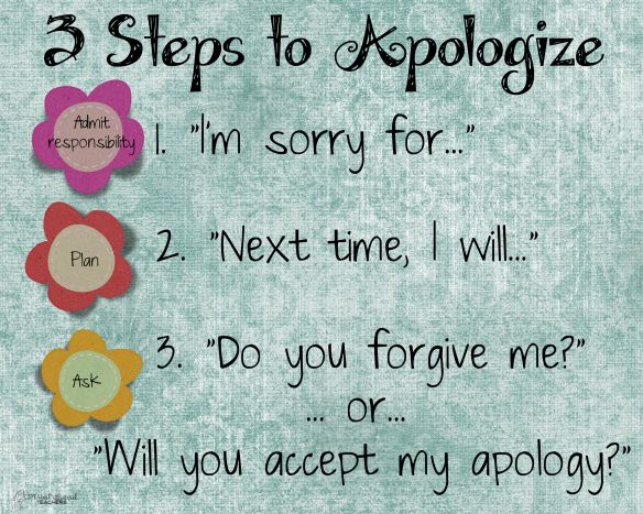 "Squarehead Teachers: ""3 Steps to Apologize"" poster. FREE for your classroom or house!"
